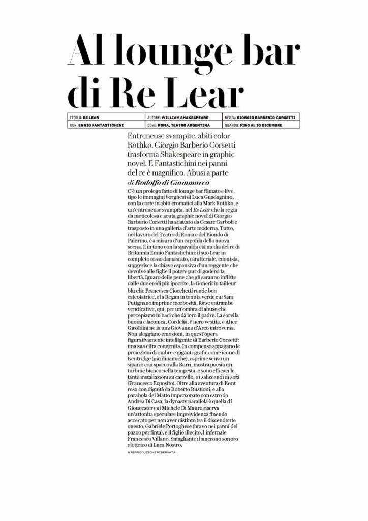 Re LEAR RECENSIONE RODOLFO DI GIAMMARCO