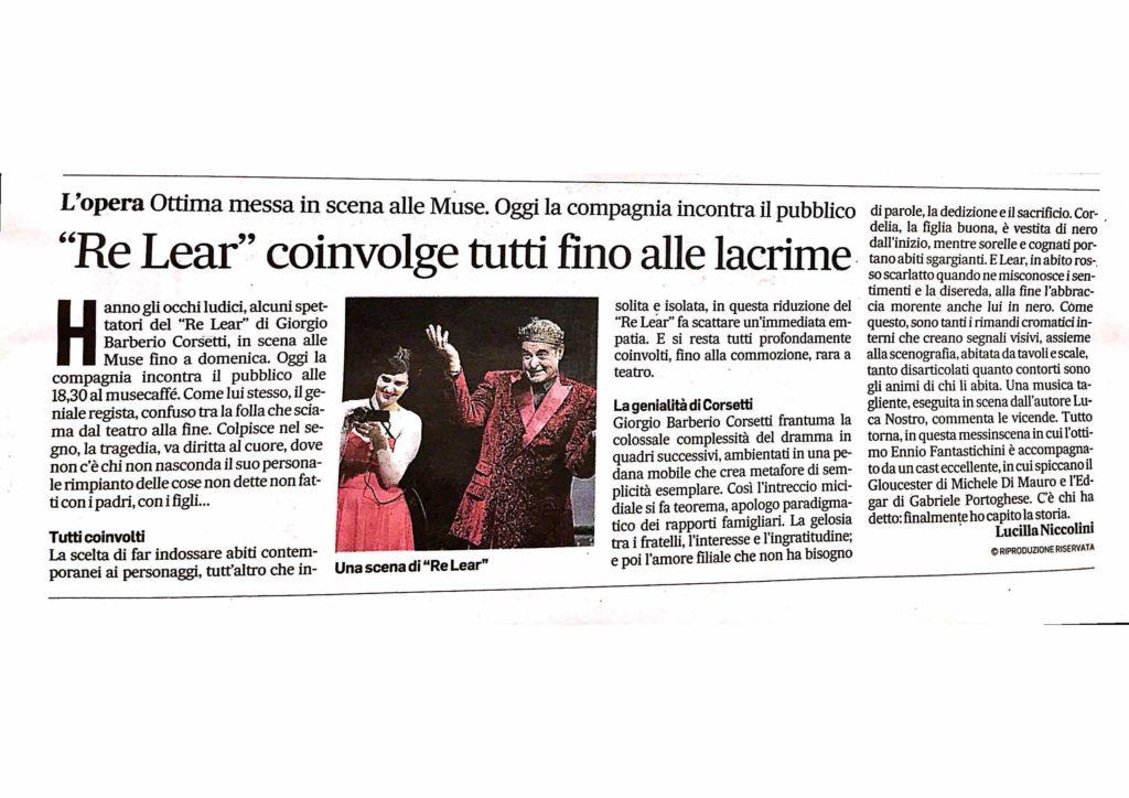 Recensione Lear Corriere Adriatico